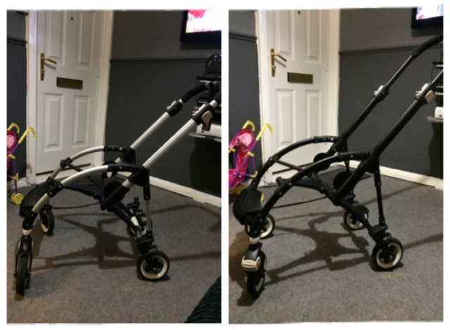 before after how to guide spray paint bugaboo bee chassis black vinyl customise custom